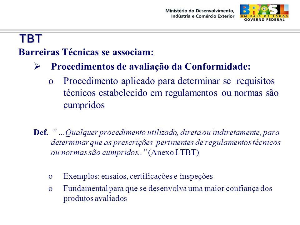 TBT TBT Barreiras Técnicas se associam:  Procedimentos de avaliação da Conformidade: oProcedimento aplicado para determinar se requisitos técnicos estabelecido em regulamentos ou normas são cumpridos Def.