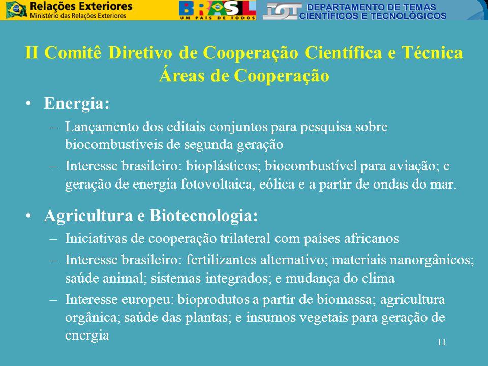 11 Energia: –Lançamento dos editais conjuntos para pesquisa sobre biocombustíveis de segunda geração –Interesse brasileiro: bioplásticos; biocombustível para aviação; e geração de energia fotovoltaica, eólica e a partir de ondas do mar.