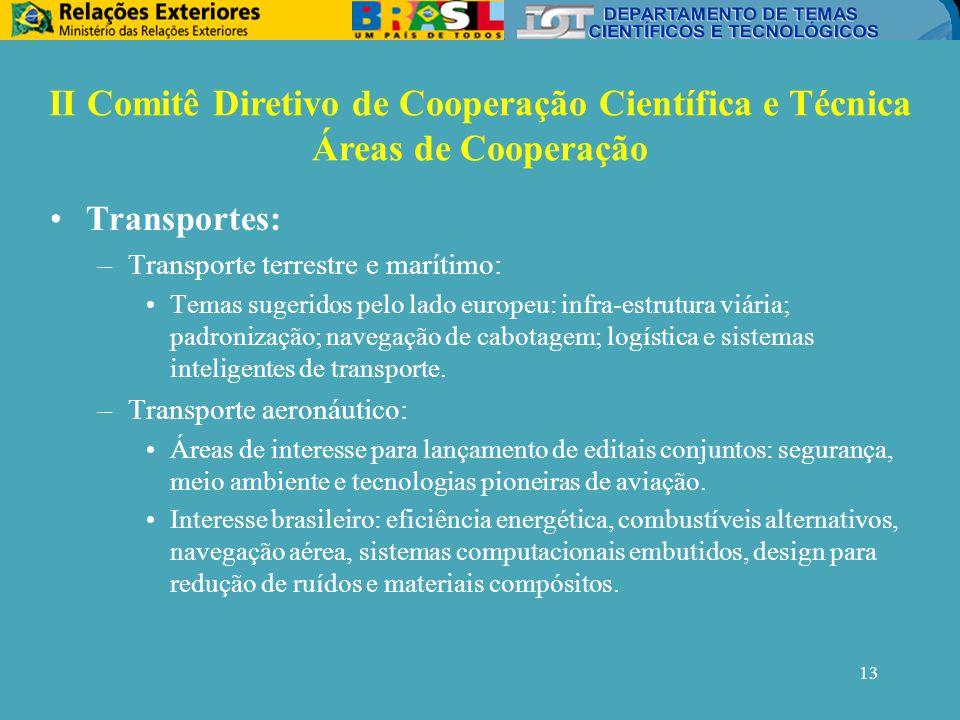 13 Transportes: –Transporte terrestre e marítimo: Temas sugeridos pelo lado europeu: infra-estrutura viária; padronização; navegação de cabotagem; logística e sistemas inteligentes de transporte.