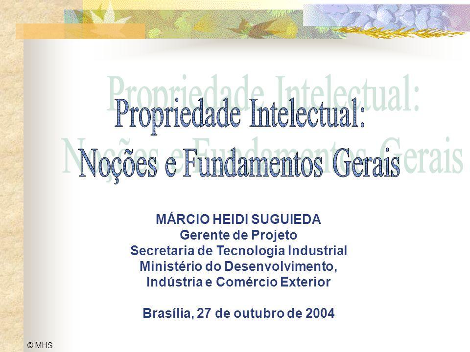 1 © MHS Propriedade Intelectual: Noções e Fundamentos Gerais MÁRCIO HEIDI SUGUIEDA Gerente de Projeto Secretaria de Tecnologia Industrial Ministério d