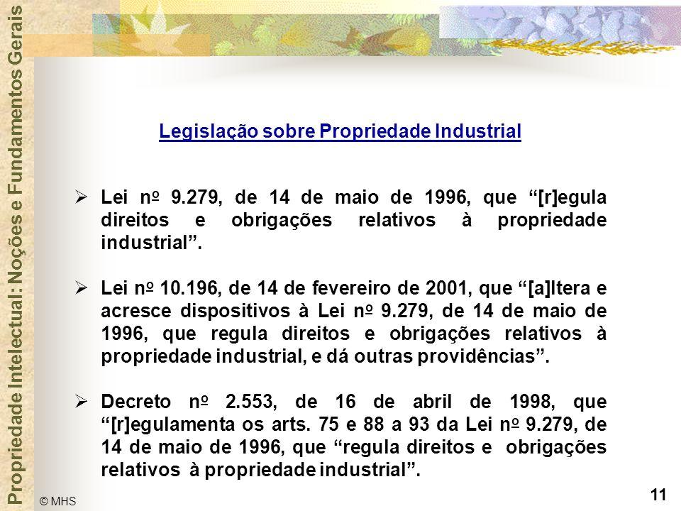 """11 © MHS Propriedade Intelectual: Noções e Fundamentos Gerais  Lei n o 9.279, de 14 de maio de 1996, que """"[r]egula direitos e obrigações relativos à"""