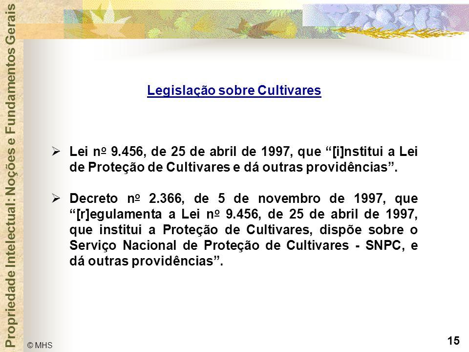 """15 © MHS Propriedade Intelectual: Noções e Fundamentos Gerais  Lei n o 9.456, de 25 de abril de 1997, que """"[i]nstitui a Lei de Proteção de Cultivares"""