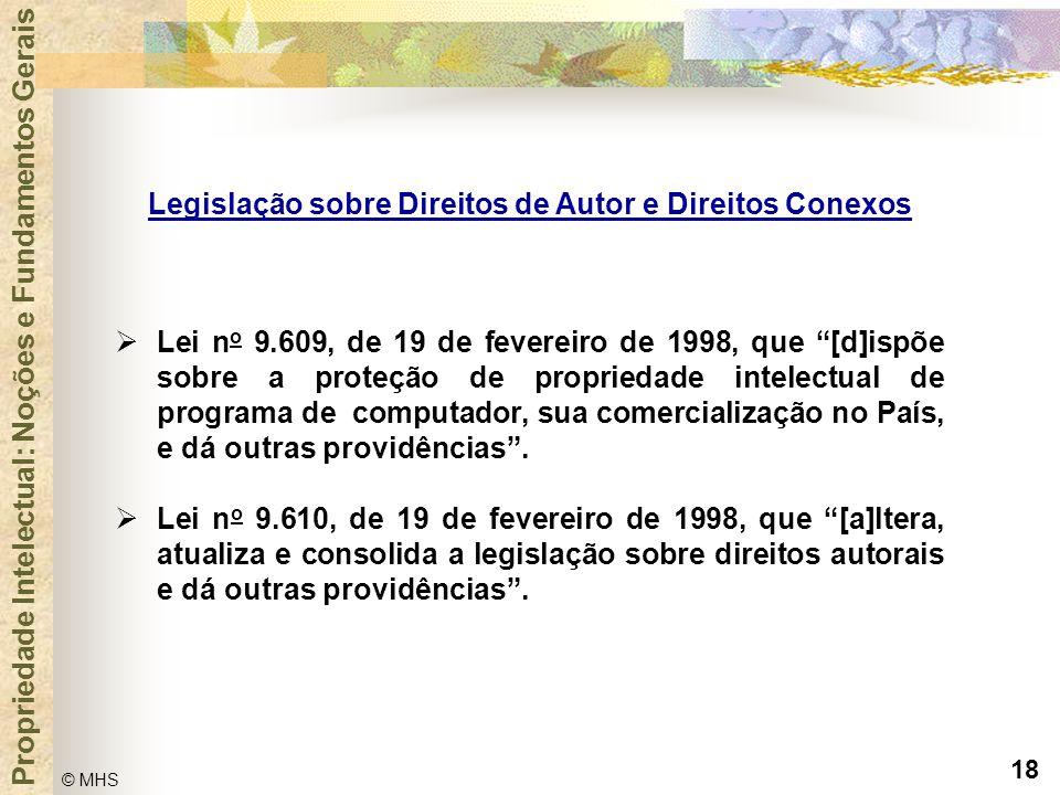 """18 © MHS Propriedade Intelectual: Noções e Fundamentos Gerais  Lei n o 9.609, de 19 de fevereiro de 1998, que """"[d]ispõe sobre a proteção de proprieda"""