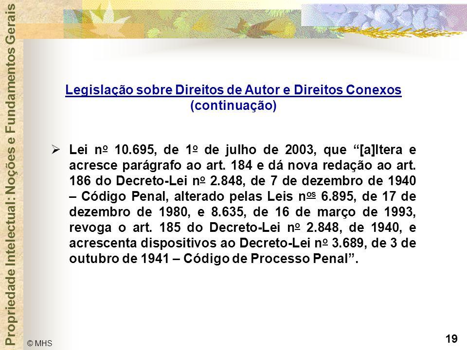 """19 © MHS Propriedade Intelectual: Noções e Fundamentos Gerais  Lei n o 10.695, de 1 o de julho de 2003, que """"[a]ltera e acresce parágrafo ao art. 184"""
