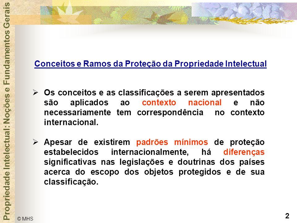 2 © MHS Propriedade Intelectual: Noções e Fundamentos Gerais Conceitos e Ramos da Proteção da Propriedade Intelectual  Os conceitos e as classificaçõ