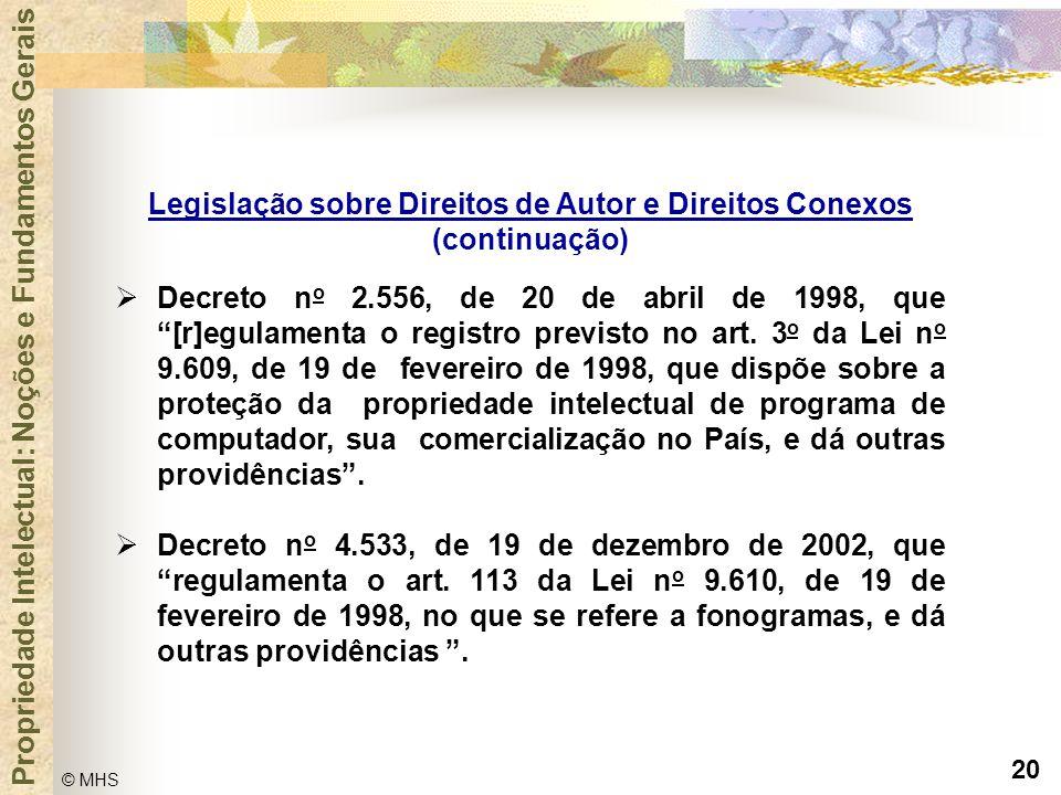 """20 © MHS Propriedade Intelectual: Noções e Fundamentos Gerais  Decreto n o 2.556, de 20 de abril de 1998, que """"[r]egulamenta o registro previsto no a"""