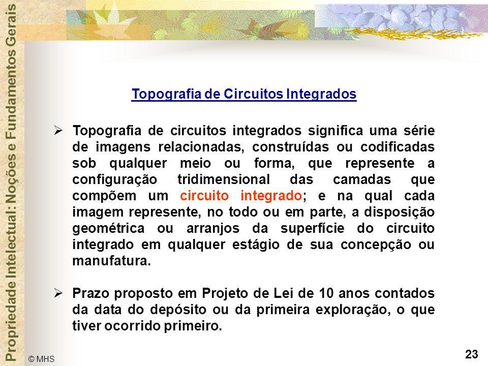 23 © MHS Propriedade Intelectual: Noções e Fundamentos Gerais Topografia de Circuitos Integrados  Topografia de circuitos integrados significa uma sé