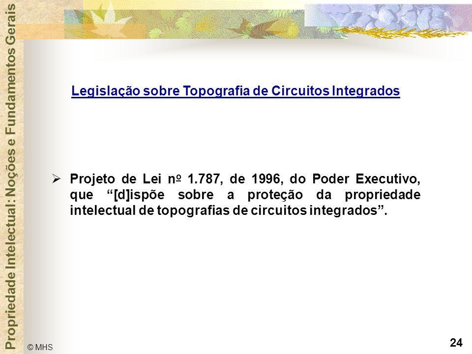"""24 © MHS Propriedade Intelectual: Noções e Fundamentos Gerais  Projeto de Lei n o 1.787, de 1996, do Poder Executivo, que """"[d]ispõe sobre a proteção"""