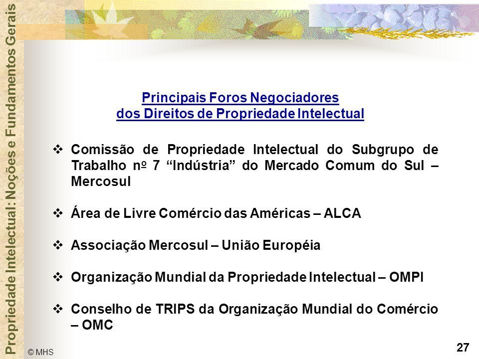 27 © MHS Propriedade Intelectual: Noções e Fundamentos Gerais Principais Foros Negociadores dos Direitos de Propriedade Intelectual  Comissão de Prop