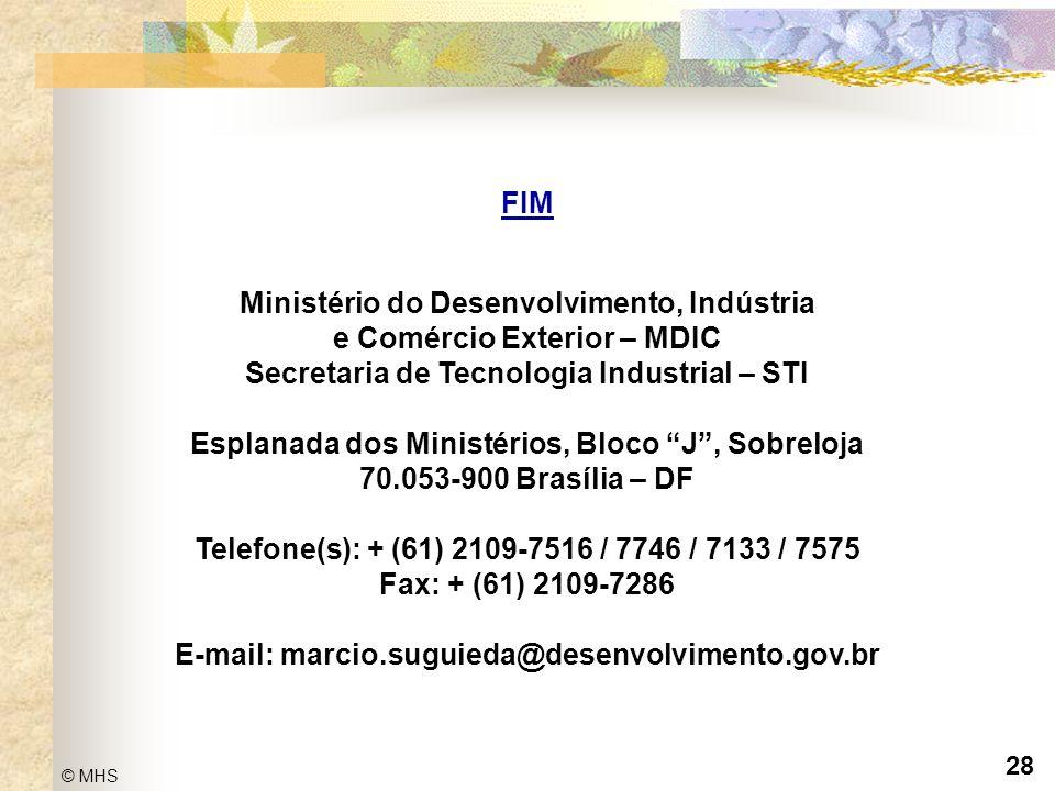 28 © MHS Propriedade Intelectual: Noções e Fundamentos Gerais FIM Ministério do Desenvolvimento, Indústria e Comércio Exterior – MDIC Secretaria de Te