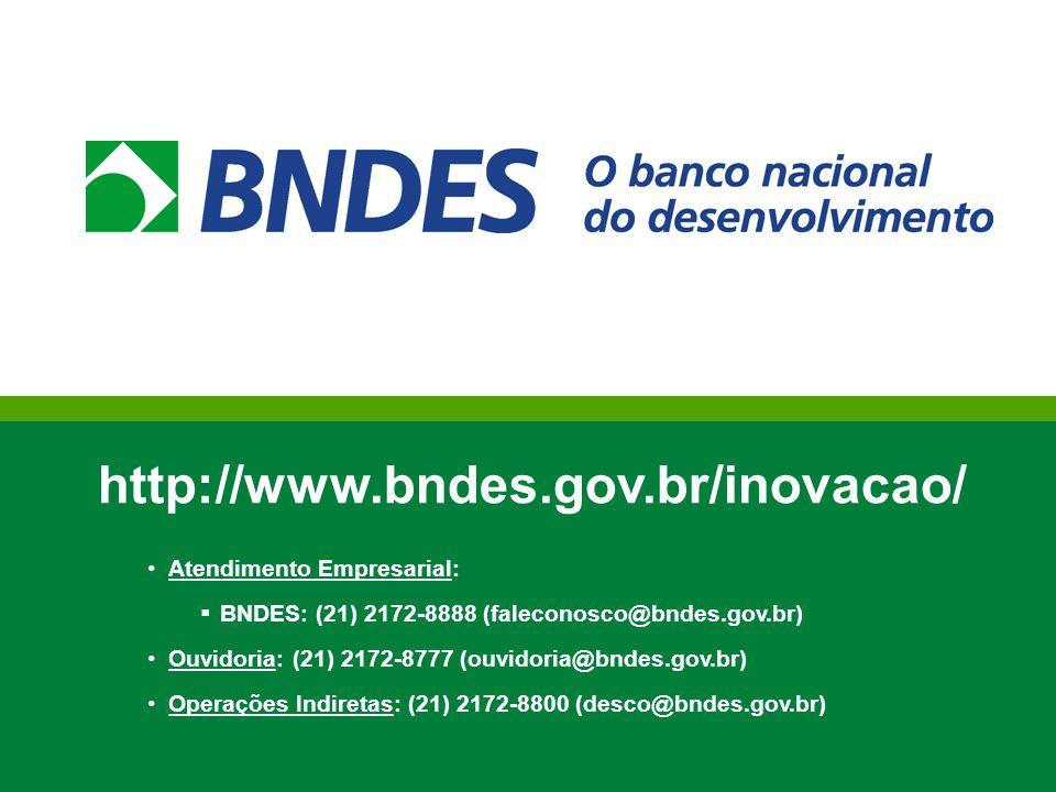http://www.bndes.gov.br/inovacao/ Atendimento Empresarial:  BNDES: (21) 2172-8888 (faleconosco@bndes.gov.br) Ouvidoria: (21) 2172-8777 (ouvidoria@bnd