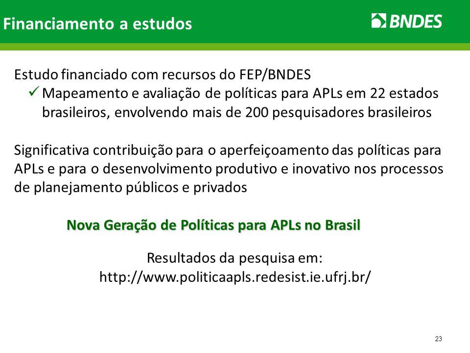 23 Financiamento a estudos Estudo financiado com recursos do FEP/BNDES Mapeamento e avaliação de políticas para APLs em 22 estados brasileiros, envolvendo mais de 200 pesquisadores brasileiros Significativa contribuição para o aperfeiçoamento das políticas para APLs e para o desenvolvimento produtivo e inovativo nos processos de planejamento públicos e privados Nova Geração de Políticas para APLs no Brasil Nova Geração de Políticas para APLs no Brasil Resultados da pesquisa em: http://www.politicaapls.redesist.ie.ufrj.br/