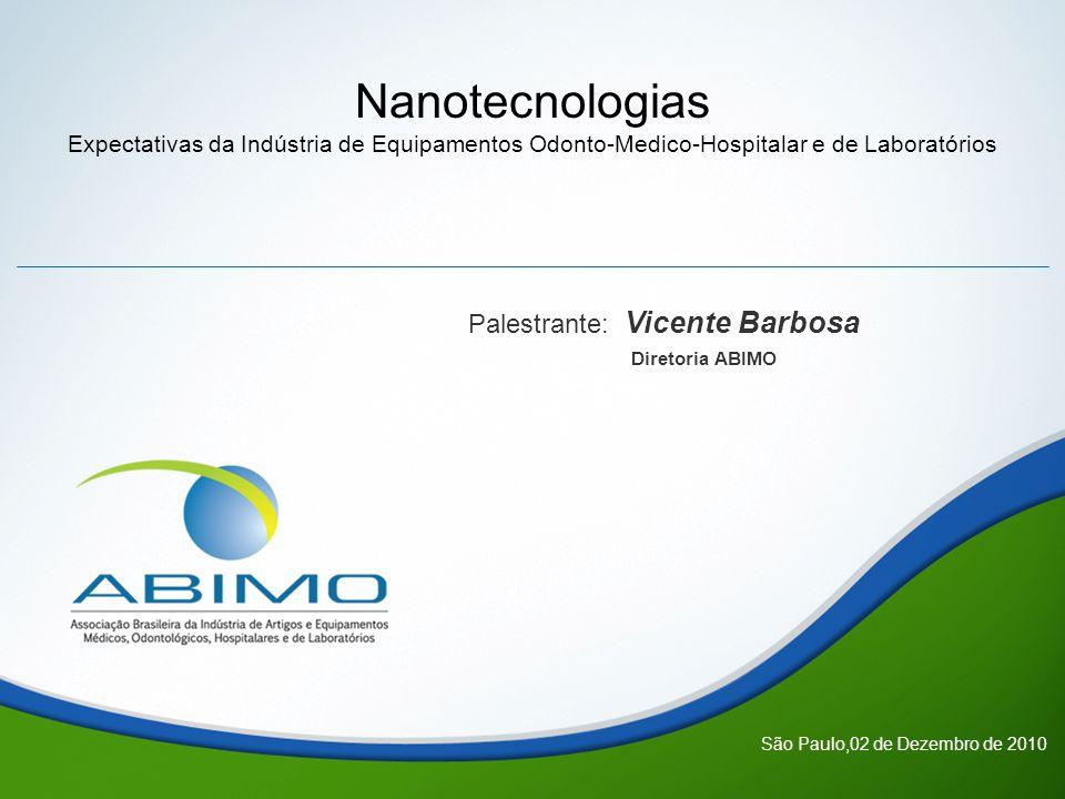 Nanotecnologias Expectativas da Indústria de Equipamentos Odonto-Medico-Hospitalar e de Laboratórios Palestrante: Vicente Barbosa Diretoria ABIMO São