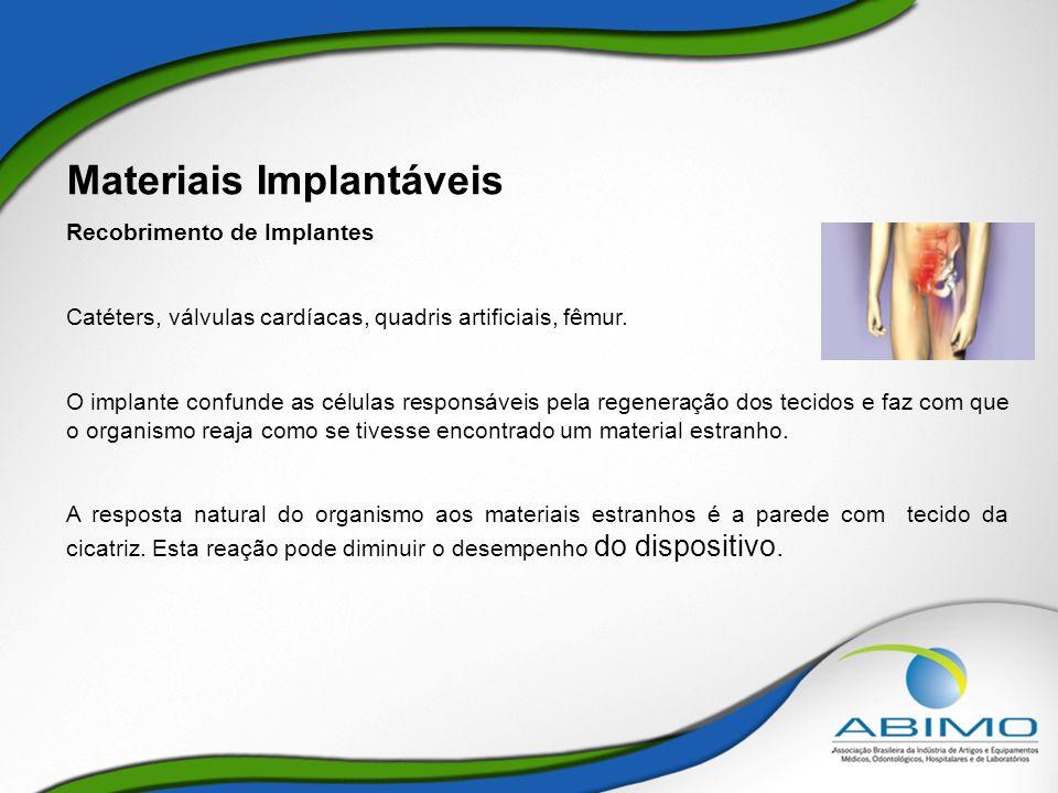 Materiais Implantáveis Recobrimento de Implantes Catéters, válvulas cardíacas, quadris artificiais, fêmur. O implante confunde as células responsáveis