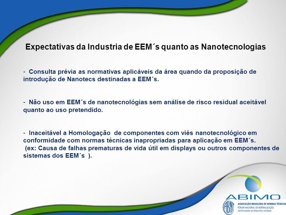 Expectativas da Industria de EEM´s quanto as Nanotecnologias - Consulta prévia as normativas aplicáveis da área quando da proposição de introdução de