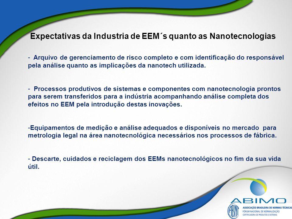 Expectativas da Industria de EEM´s quanto as Nanotecnologias - Arquivo de gerenciamento de risco completo e com identificação do responsável pela anál
