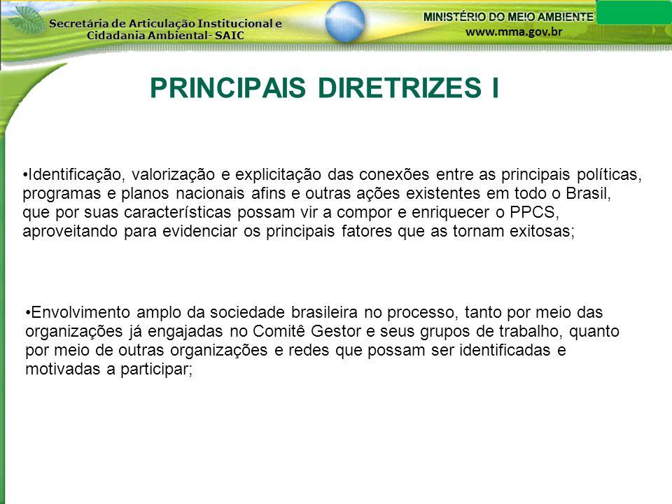 www.mma.gov.br Secretária de Articulação Institucional e Cidadania Ambiental- SAIC PRINCIPAIS DIRETRIZES II Observar a variedade e a diversidade de públicos, culturas regionais e de grupos sociais, dentro do próprio País, bem como de interesses quanto ao engajamento na temática do PCS, de modo a ser mais eficaz e o mais abrangente possível (em termos de cobertura) nos seus programas, projetos e ações; Levar em conta os acordos internacionais assinados pelo Brasil, especialmente as convenções da biodiversidade e do clima, bem como as demais que afetem direta ou indiretamente as prioridades eleitas pelo Plano de Ação.