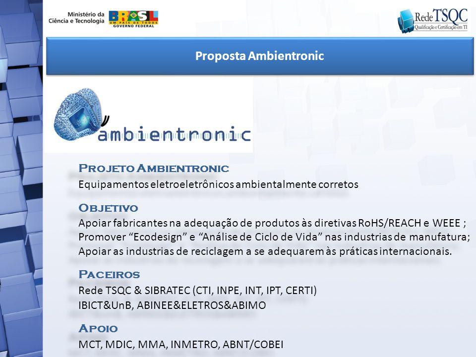 Projeto Ambientronic Equipamentos eletroeletrônicos ambientalmente corretos Objetivo Apoiar fabricantes na adequação de produtos às diretivas RoHS/REA