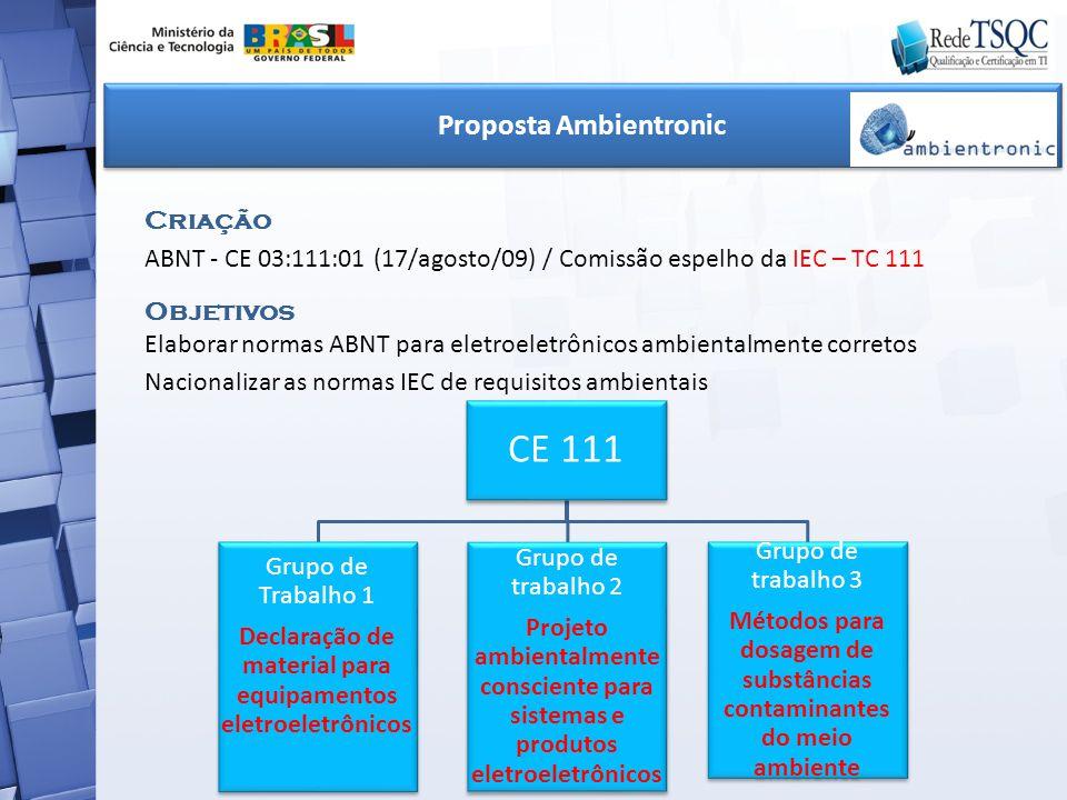 CE 111 Grupo de Trabalho 1 Declaração de material para equipamentos eletroeletrônicos Grupo de trabalho 2 Projeto ambientalmente consciente para siste