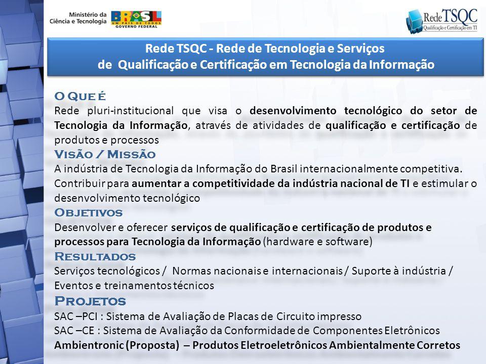 Rede TSQC - Rede de Tecnologia e Serviços de Qualificação e Certificação em Tecnologia da Informação Rede TSQC - Rede de Tecnologia e Serviços de Qual