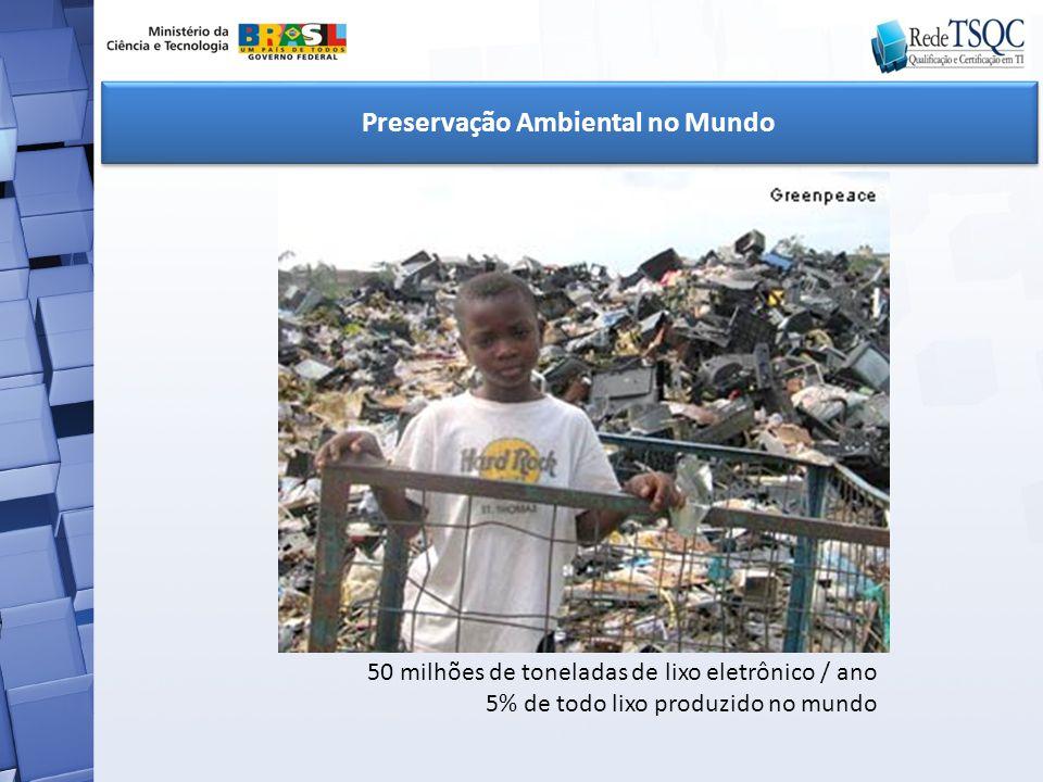 Preservação Ambiental no Mundo 50 milhões de toneladas de lixo eletrônico / ano 5% de todo lixo produzido no mundo
