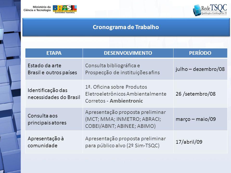ETAPADESENVOLVIMENTOPERÍODO Estado da arte Brasil e outros países Consulta bibliográfica e Prospecção de instituições afins julho – dezembro/08 Identi