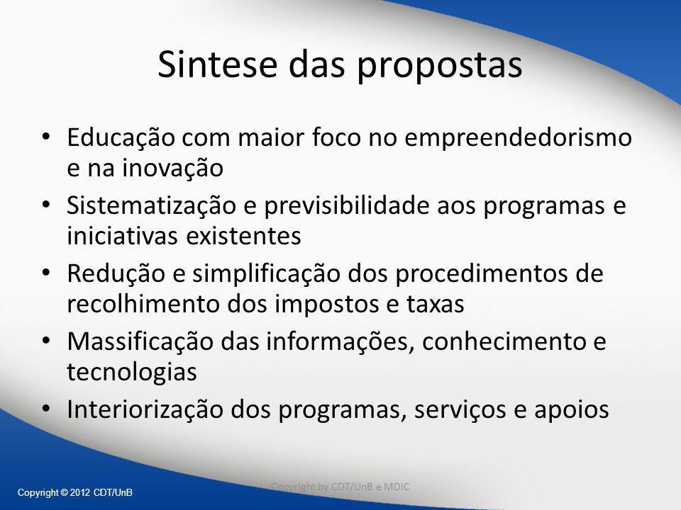 Copyright © 2012 CDT/UnB Sintese das propostas Educação com maior foco no empreendedorismo e na inovação Sistematização e previsibilidade aos programa