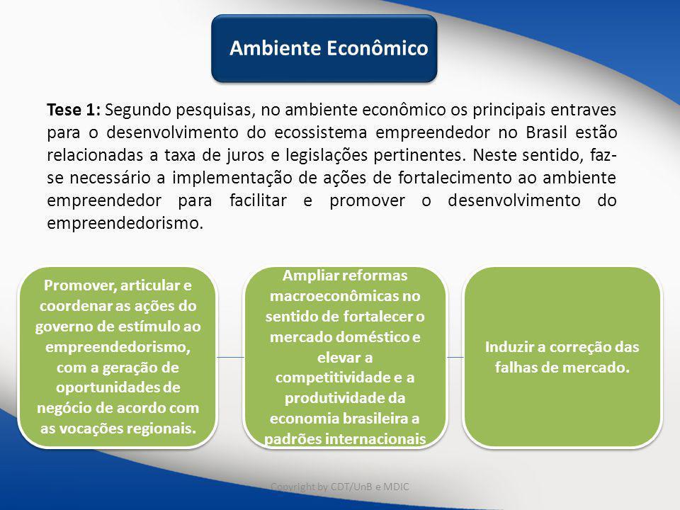 Ambiente Econômico Tese 1: Segundo pesquisas, no ambiente econômico os principais entraves para o desenvolvimento do ecossistema empreendedor no Brasil estão relacionadas a taxa de juros e legislações pertinentes.