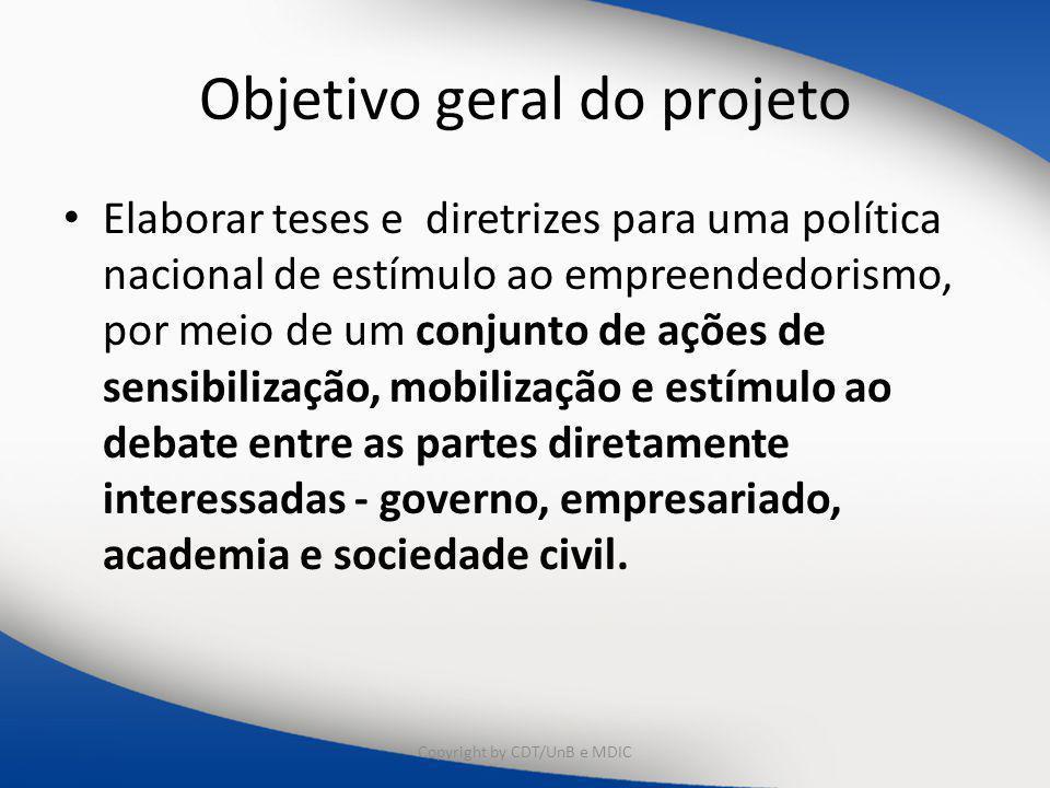 Objetivo geral do projeto Elaborar teses e diretrizes para uma política nacional de estímulo ao empreendedorismo, por meio de um conjunto de ações de