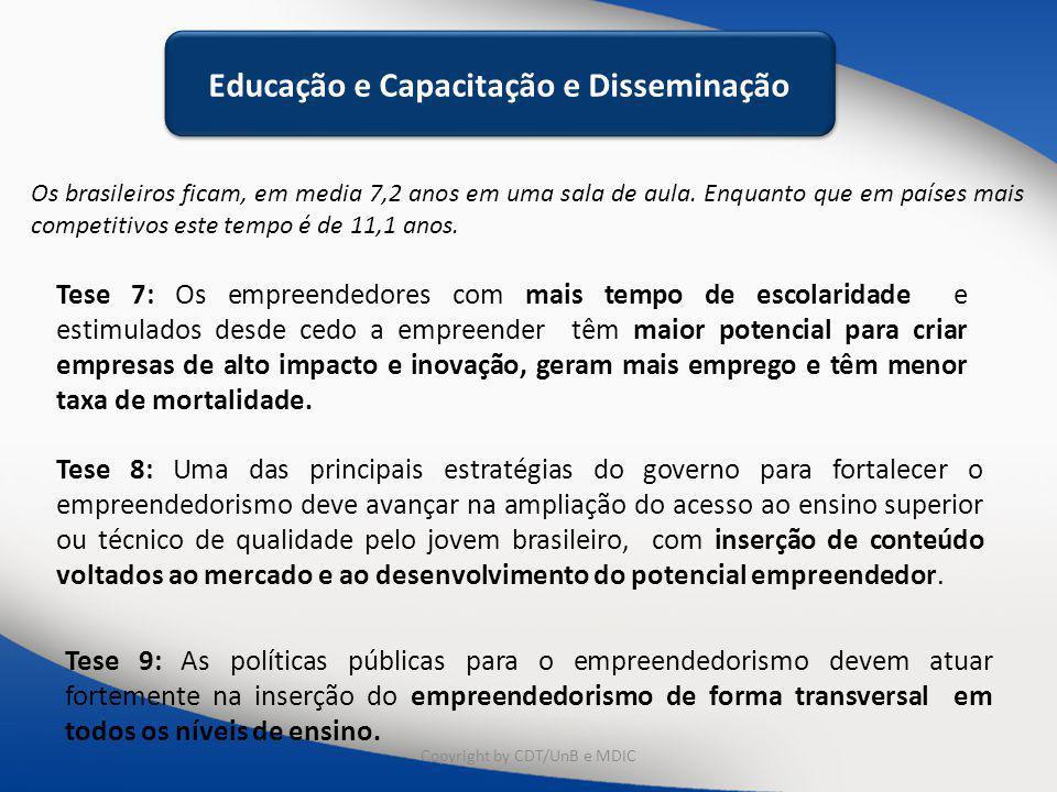 Educação e Capacitação Os brasileiros ficam, em media 7,2 anos em uma sala de aula. Enquanto que em países mais competitivos este tempo é de 11,1 anos