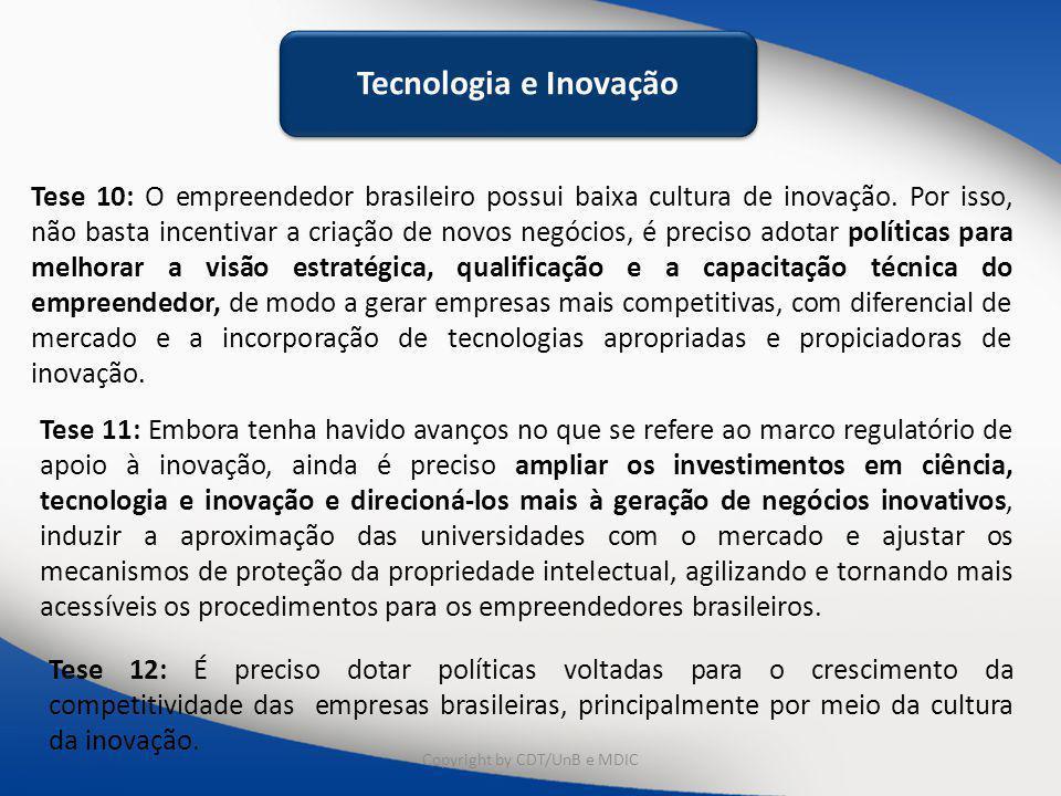 Tecnologia e Inovação Tese 10: O empreendedor brasileiro possui baixa cultura de inovação. Por isso, não basta incentivar a criação de novos negócios,