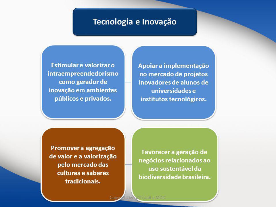 Estimular e valorizar o intraempreendedorismo como gerador de inovação em ambientes públicos e privados. Tecnologia e Inovação Promover a agregação de