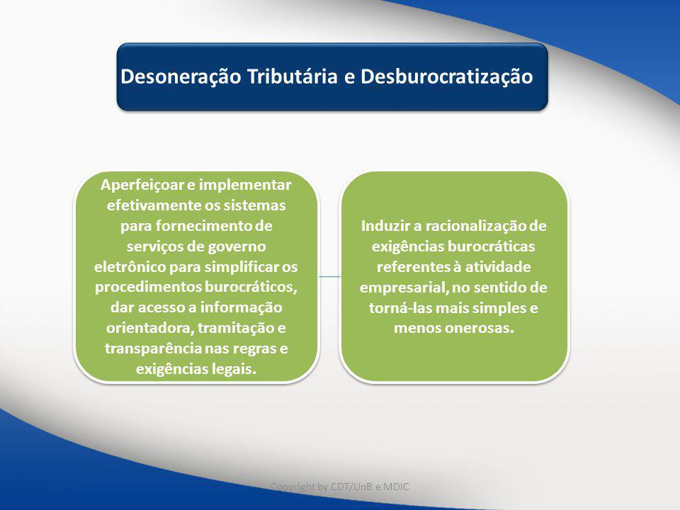 Educação e Capacitação Desoneração Tributária e Desburocratização Aperfeiçoar e implementar efetivamente os sistemas para fornecimento de serviços de