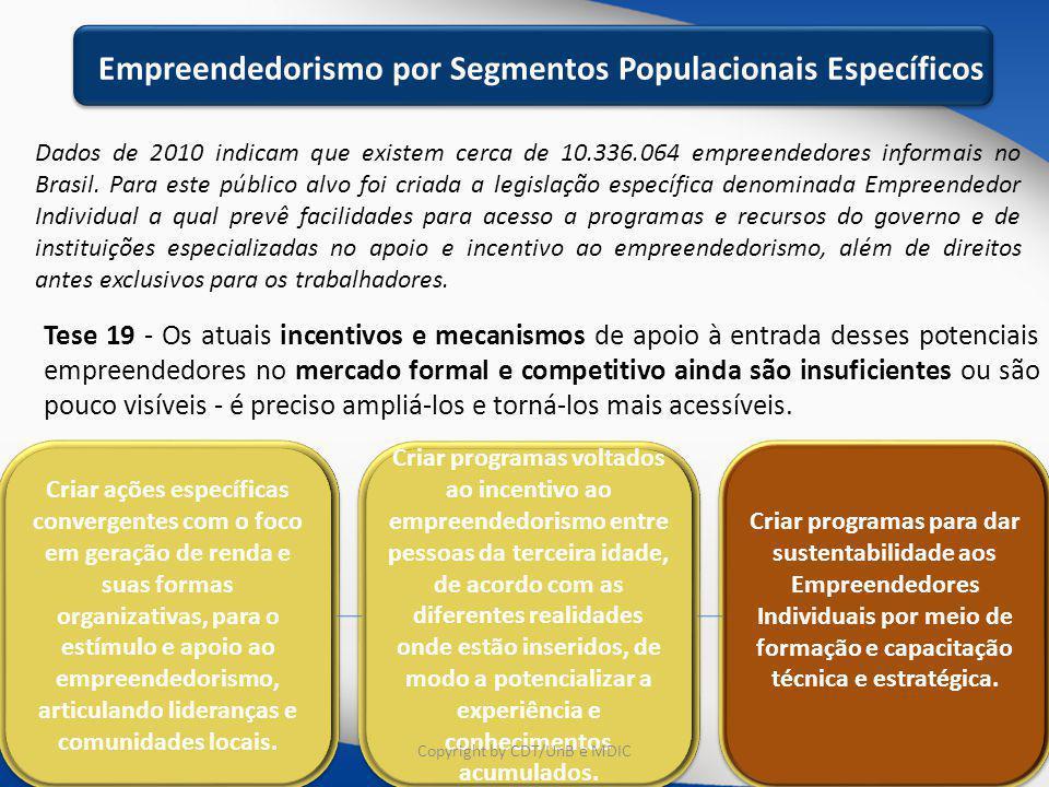 Educação e Capacitação Dados de 2010 indicam que existem cerca de 10.336.064 empreendedores informais no Brasil. Para este público alvo foi criada a l