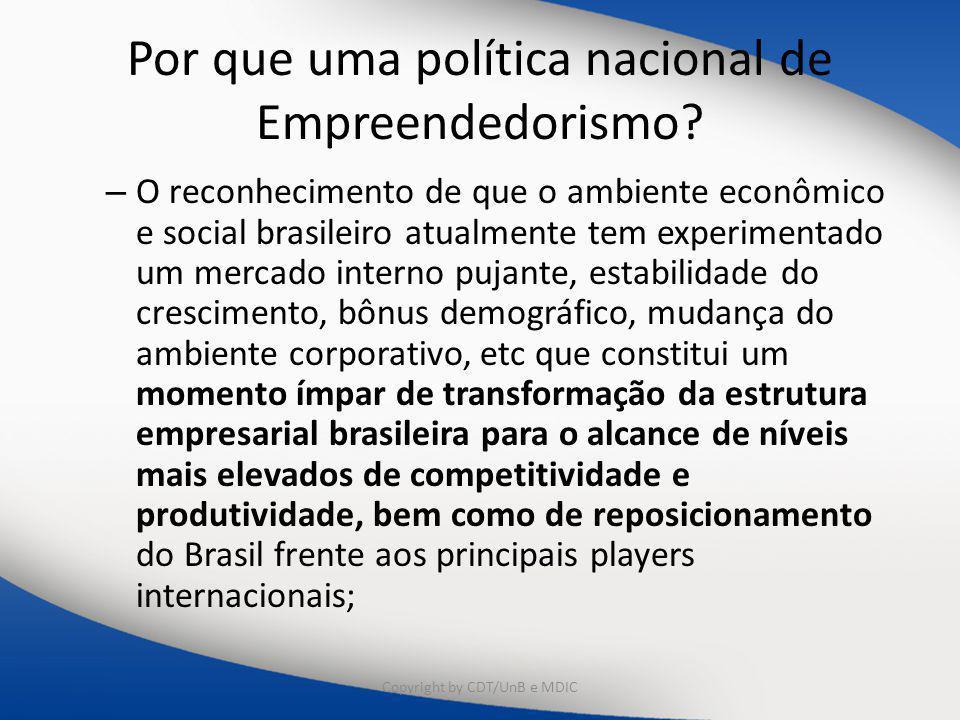 Por que uma política nacional de Empreendedorismo? – O reconhecimento de que o ambiente econômico e social brasileiro atualmente tem experimentado um
