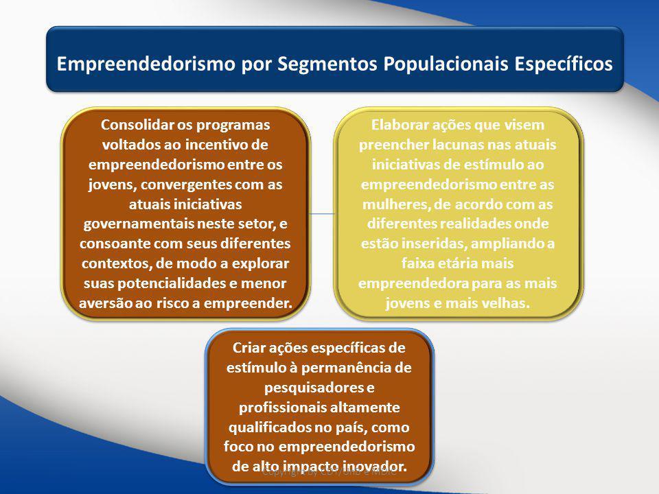 Educação e Capacitação Educação e Capacitação e Disseminação Empreendedorismo por Segmentos Populacionais Específicos Consolidar os programas voltados
