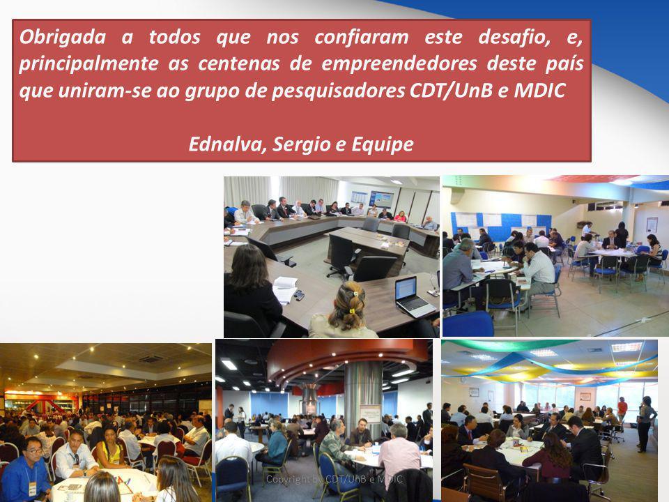 Obrigada a todos que nos confiaram este desafio, e, principalmente as centenas de empreendedores deste país que uniram-se ao grupo de pesquisadores CDT/UnB e MDIC Ednalva, Sergio e Equipe Copyright by CDT/UnB e MDIC