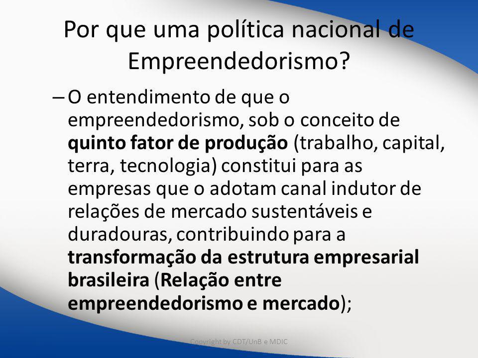 Por que uma política nacional de Empreendedorismo? – O entendimento de que o empreendedorismo, sob o conceito de quinto fator de produção (trabalho, c