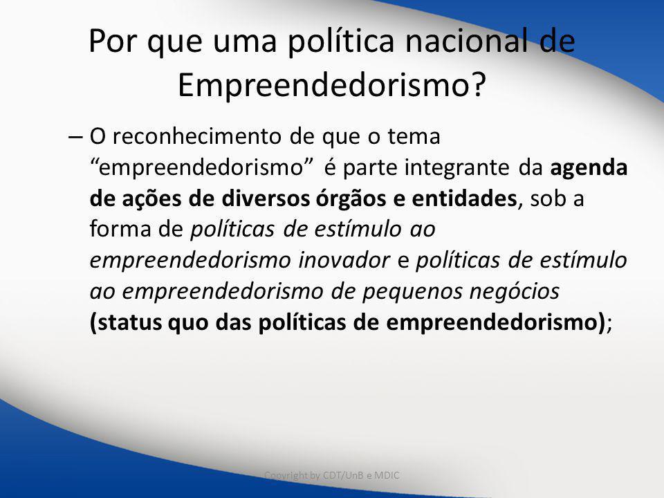 """Por que uma política nacional de Empreendedorismo? – O reconhecimento de que o tema """"empreendedorismo"""" é parte integrante da agenda de ações de divers"""