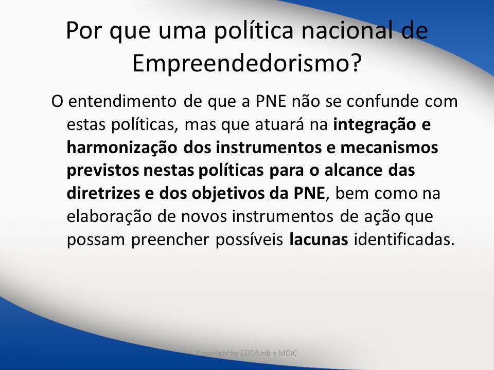 Por que uma política nacional de Empreendedorismo? O entendimento de que a PNE não se confunde com estas políticas, mas que atuará na integração e har