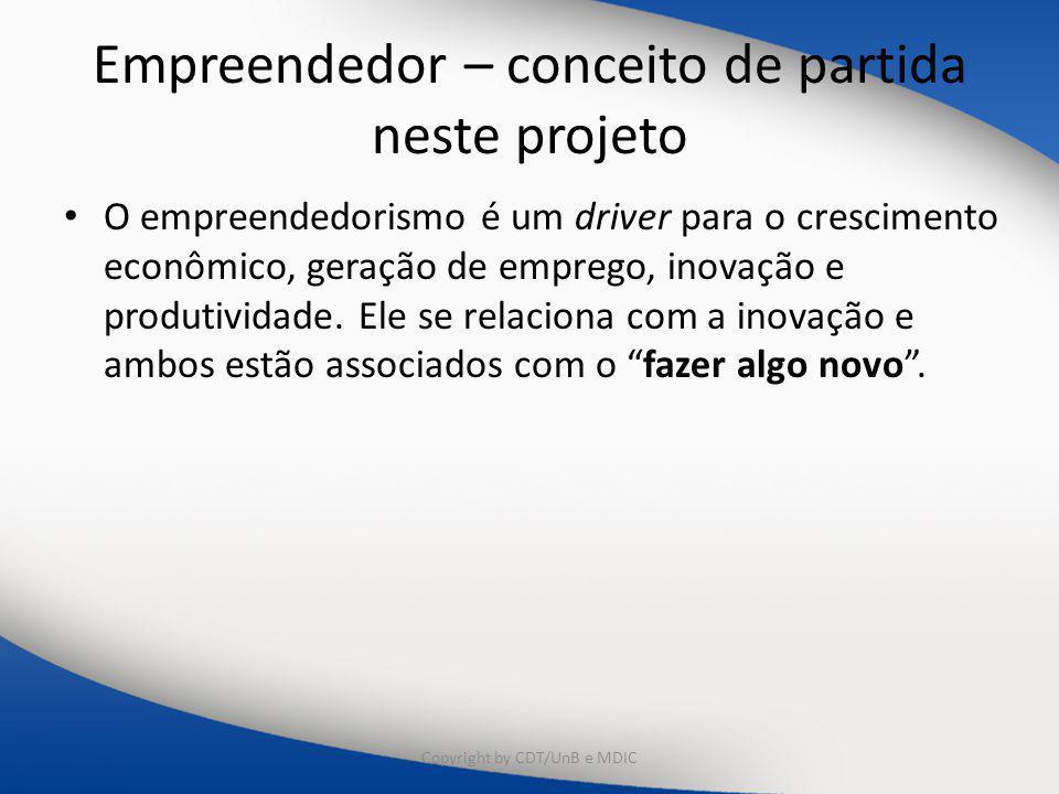 Empreendedor – conceito de partida neste projeto O empreendedorismo é um driver para o crescimento econômico, geração de emprego, inovação e produtividade.