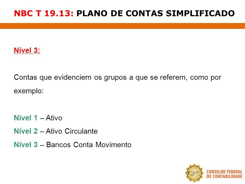 NBC T 19.13: PLANO DE CONTAS SIMPLIFICADO Nível 3: Contas que evidenciem os grupos a que se referem, como por exemplo: Nível 1 – Ativo Nível 2 – Ativo