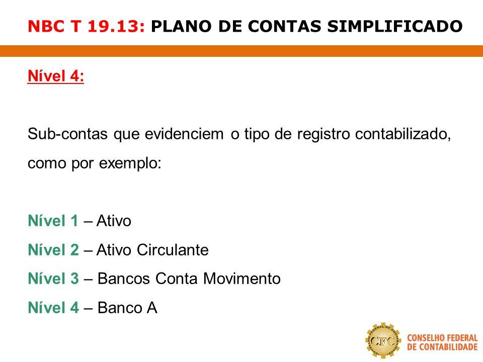 NBC T 19.13: PLANO DE CONTAS SIMPLIFICADO Nível 4: Sub-contas que evidenciem o tipo de registro contabilizado, como por exemplo: Nível 1 – Ativo Nível