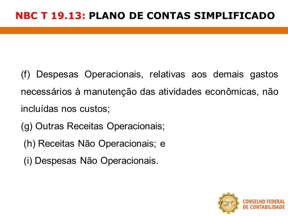 NBC T 19.13: PLANO DE CONTAS SIMPLIFICADO (f) Despesas Operacionais, relativas aos demais gastos necessários à manutenção das atividades econômicas, n