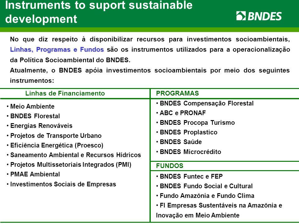 Linhas de Financiamento Meio Ambiente BNDES Florestal Energias Renováveis Projetos de Transporte Urbano Eficiência Energética (Proesco) Saneamento Ambiental e Recursos Hídricos Projetos Multissetoriais Integrados (PMI) PMAE Ambiental Investimentos Sociais de Empresas Instruments to suport sustainable development Linhas, Programas e Fundos No que diz respeito à disponibilizar recursos para investimentos socioambientais, Linhas, Programas e Fundos são os instrumentos utilizados para a operacionalização da Política Socioambiental do BNDES.