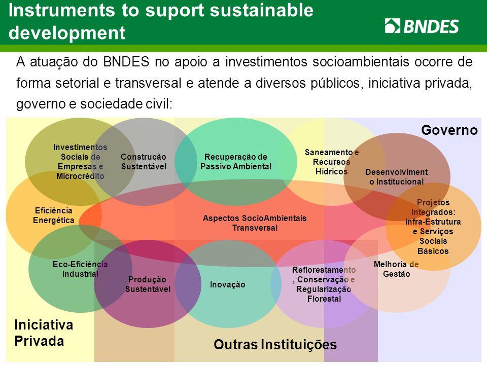 Eficiência Energética A atuação do BNDES no apoio a investimentos socioambientais ocorre de forma setorial e transversal e atende a diversos públicos, iniciativa privada, governo e sociedade civil: Aspectos SocioAmbientais Transversal Reflorestamento, Conservação e Regularização Florestal Eco-Eficiência Industrial Investimentos Sociais de Empresas e Microcrédito Saneamento e Recursos Hídricos Melhoria de Gestão Construção Sustentável Recuperação de Passivo Ambiental Inovação Produção Sustentável Governo Iniciativa Privada Outras Instituições Projetos Integrados: Infra-Estrutura e Serviços Sociais Básicos Desenvolviment o Institucional Instruments to suport sustainable development