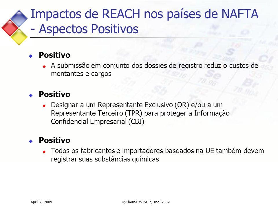 Impactos de REACH nos países de NAFTA - Aspectos Positivos April 7, 2009©ChemADVISOR, Inc. 2009  Positivo  A submissão em conjunto dos dossies de re