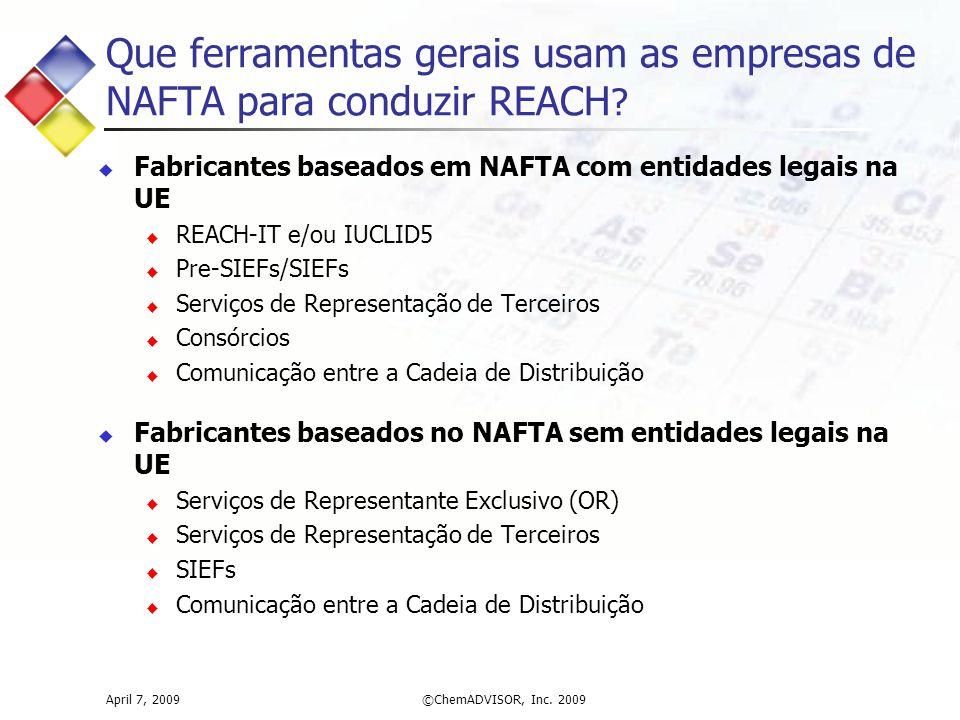Que ferramentas gerais usam as empresas de NAFTA para conduzir REACH ? April 7, 2009©ChemADVISOR, Inc. 2009  Fabricantes baseados em NAFTA com entida