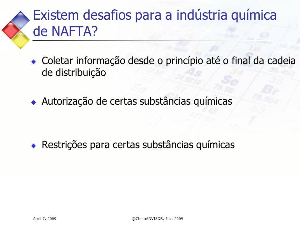 Existem desafios para a indústria química de NAFTA.