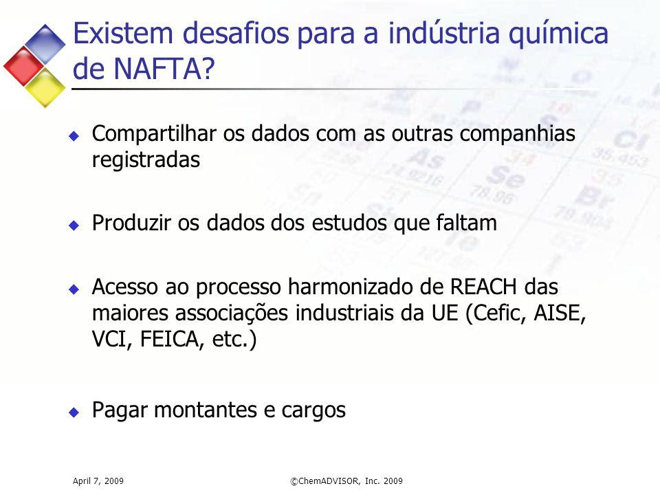 Existem desafios para a indústria química de NAFTA? April 7, 2009©ChemADVISOR, Inc. 2009  Compartilhar os dados com as outras companhias registradas